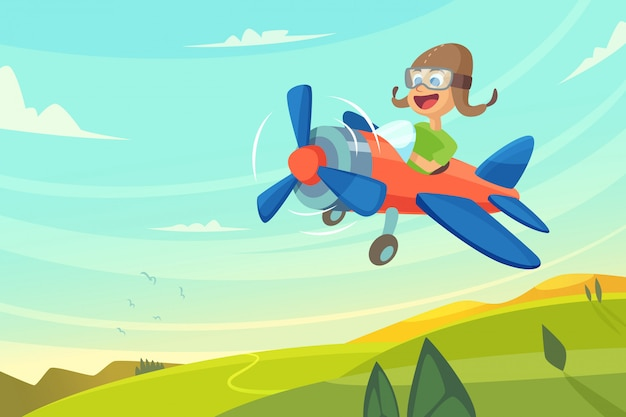 Boy flying in airplane. Premium Vector