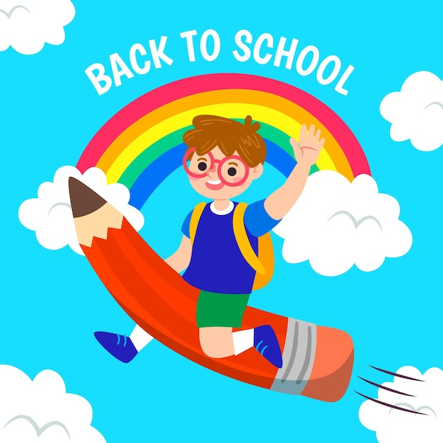 Boy flying on a pencil back to school concept Free Vector