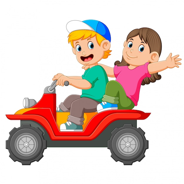 The boy and the girl are riding the atv together Premium Vector