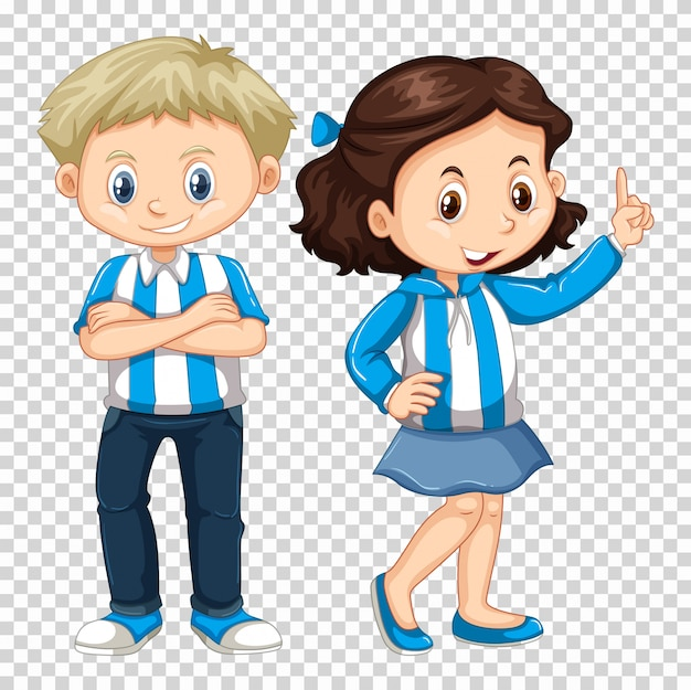 Boy and girl in blue costume Free Vector