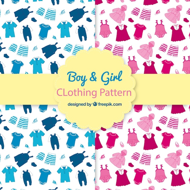 Boy and girl clothing patterns Free Vector