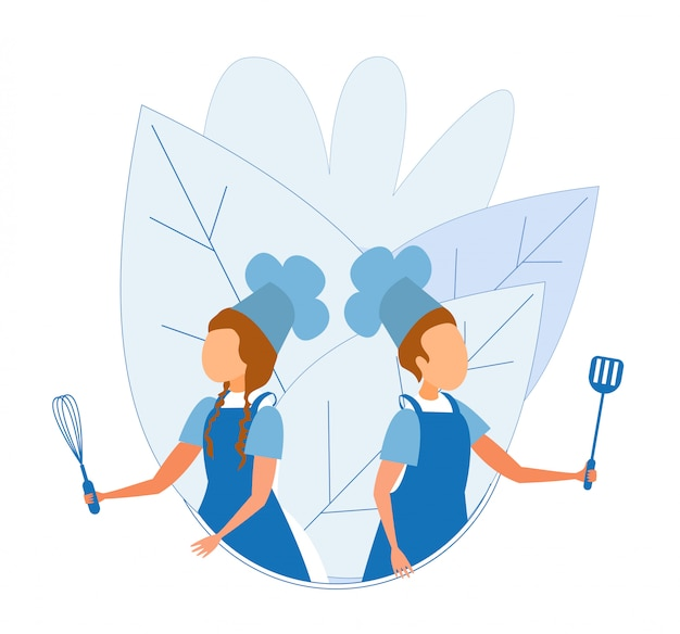 Boy and girl in cook uniform standing with utensil Premium Vector