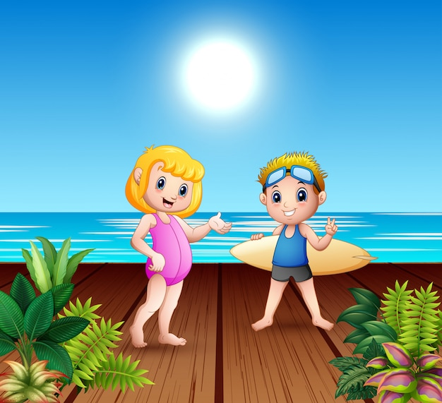Boy and girl couple with surfboards at sea port Premium Vector