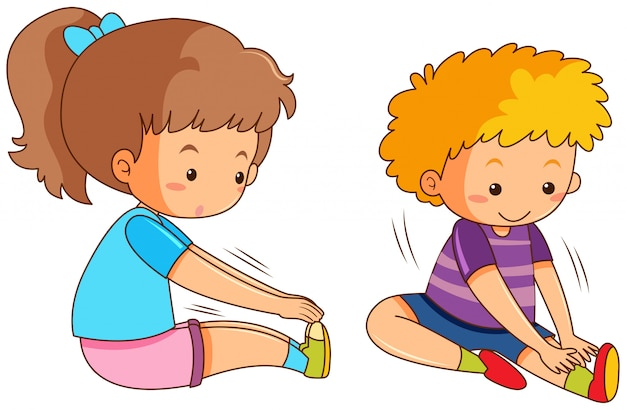 Boy and girl exercising Free Vector