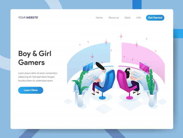 Boy and girl gamers isometric illustration for website page Premium Vector