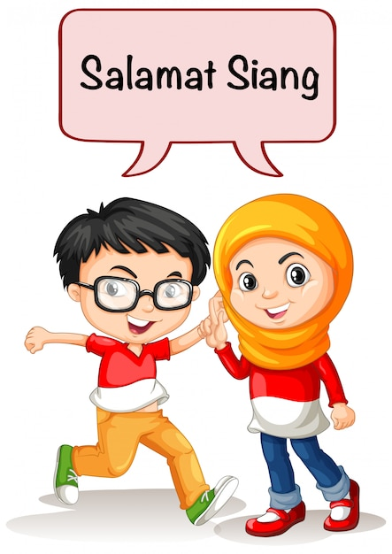 Boy and girl greeting in indonesian language Free Vector