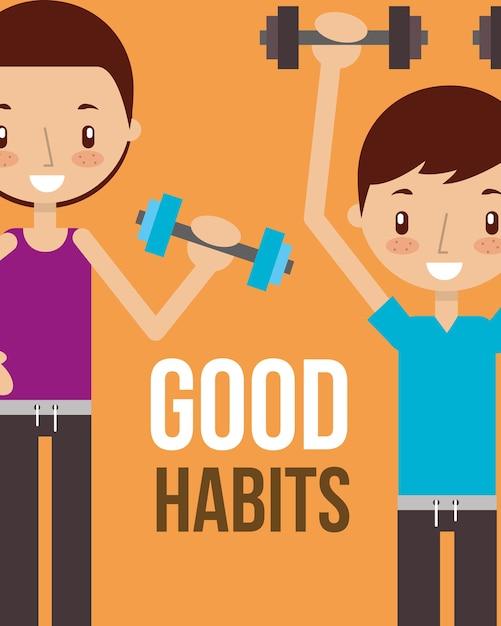 Boy And Girl Healthy Good Habits Vector  Premium Download-2347