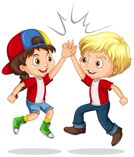 Boy and girl high five Free Vector