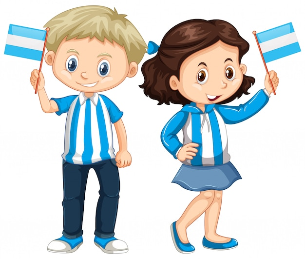 Boy and girl holding argentina flag Premium Vector