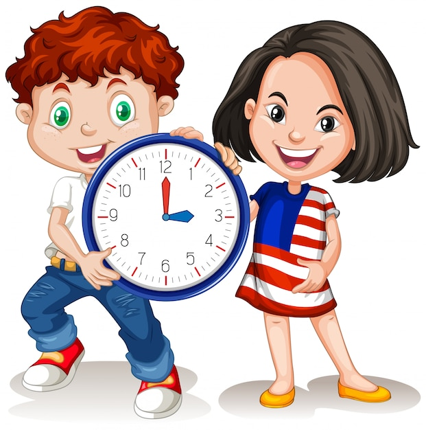 Boy and girl holding clock Free Vector