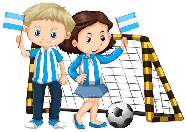 Boy and girl holding flag of nicaragua Free Vector