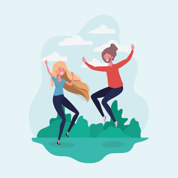 Boy and girl jumping in the park Free Vector
