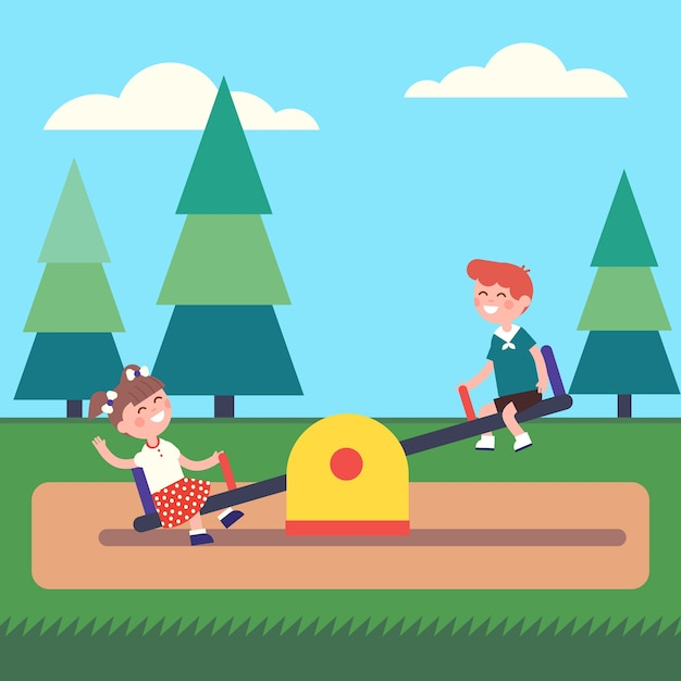 Boy and girl kids swinging on seesaw at the park Free Vector