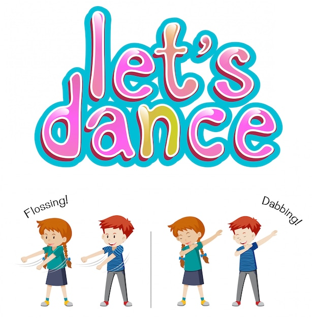 Boy and girl let's dance Premium Vector