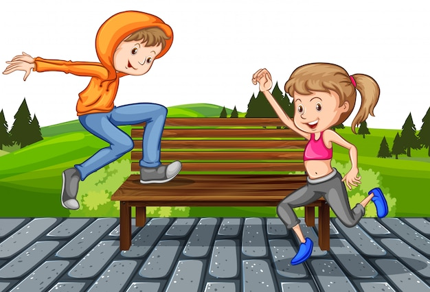 Boy and girl in park Free Vector