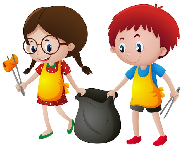Boy and girl picking up trash Free Vector
