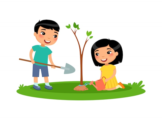 Boy and girl planted a tree Premium Vector