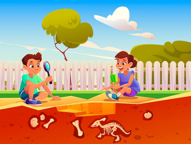 Boy and girl playing in game about excavation fossil dinosaurs in sandbox. Free Vector
