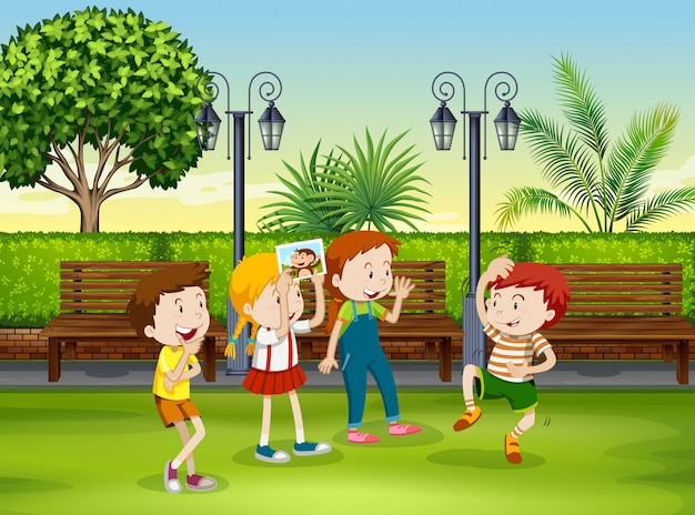 Boy and girl playing monkey in the park Free Vector