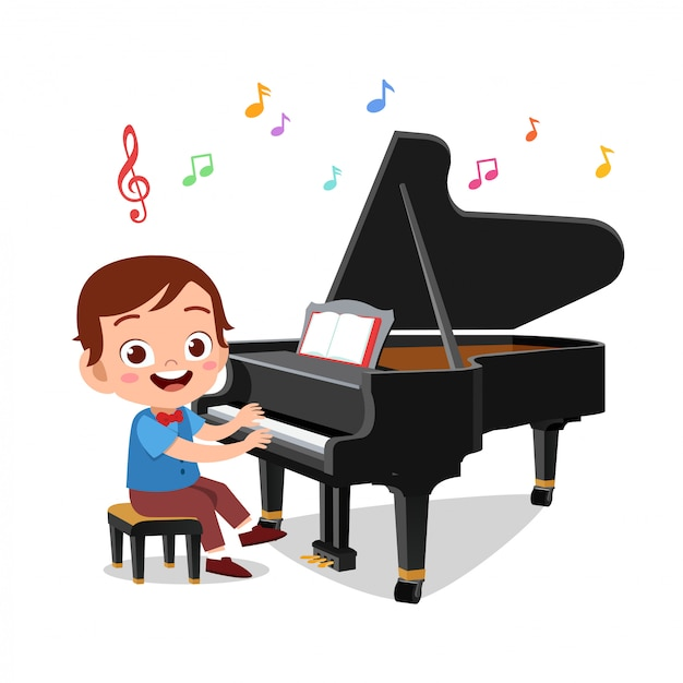 Boy and a girl playing piano Premium Vector