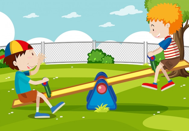 Boy and girl playing seesaw Free Vector