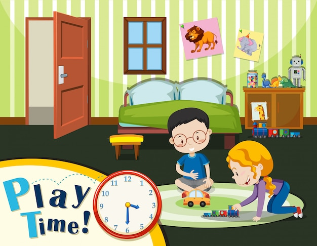 Boy and girl playing toy Premium Vector