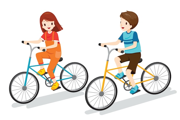 Premium Vector | Boy and girl riding bicycle together, exercise for good  health