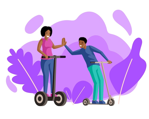 Boy and girl riding scooters flat illustration. friends, couple in love, smiling young people on electric and kick scooters cartoon characters. walk, recreation, active rest together Premium Vector