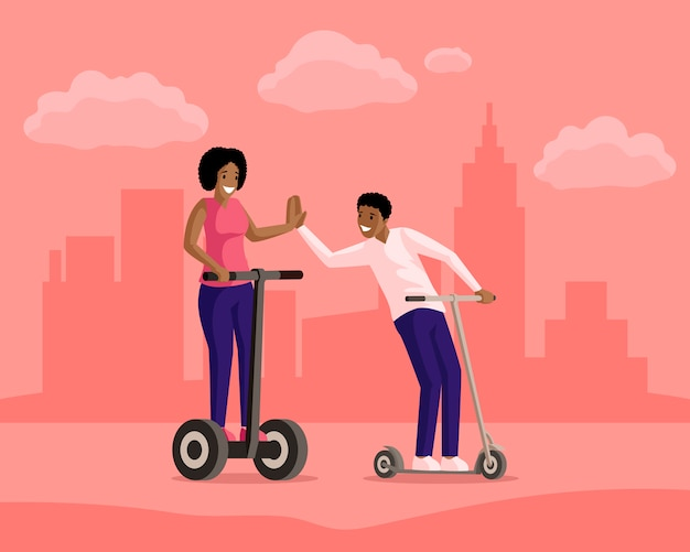 Boy and girl riding scooters in town flat illustration. friendship, evening walk, active leisure, rest together. smiling people on electric and kick scooters cartoon characters Premium Vector