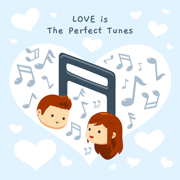 A boy and a girl's head on a tunes Premium Vector