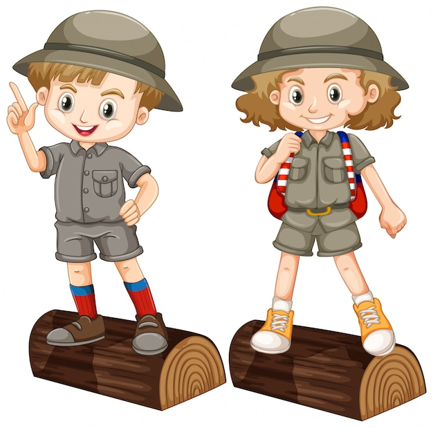 Boy and girl in safari costume on wooden log Free Vector
