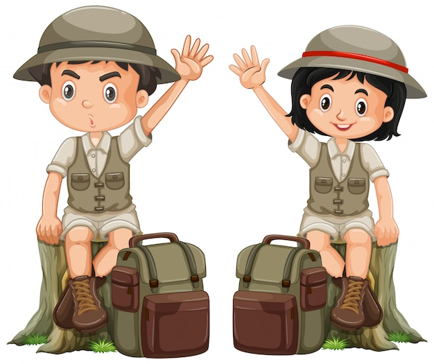 Boy and girl in safari outfit on white background Free Vector