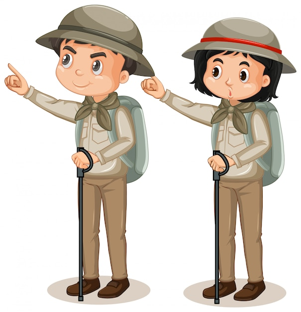 Boy and girl in safari outfit on white Free Vector