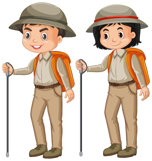 Boy and girl in safari outfit on white Premium Vector