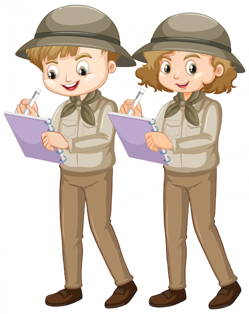 Boy and girl in safari writing notes on white background Free Vector