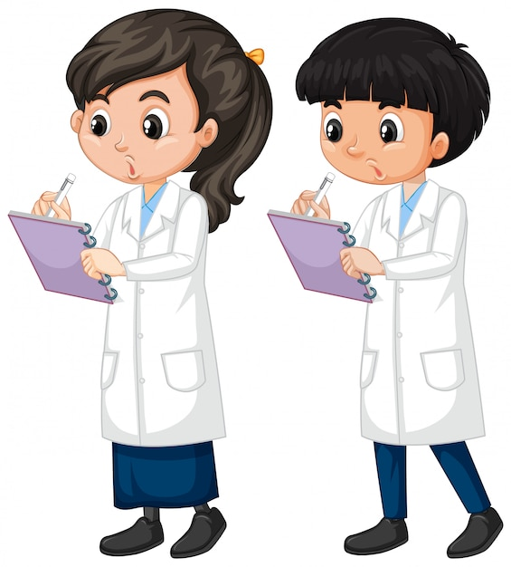 Boy and girl in science gown standing on white background Free Vector