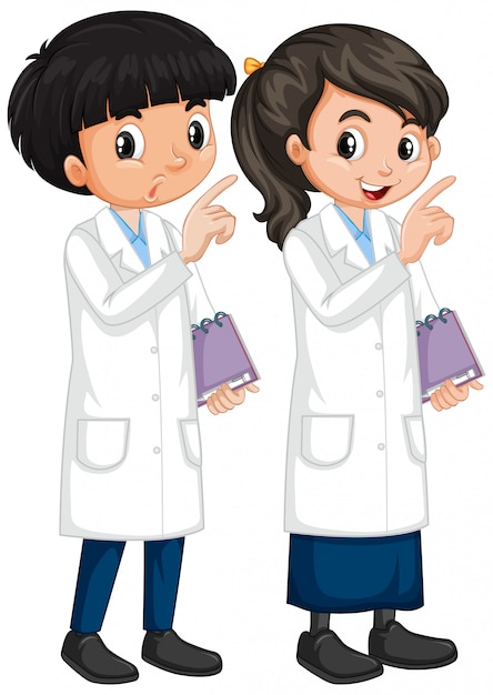 Boy and girl in science gown standing on white Free Vector