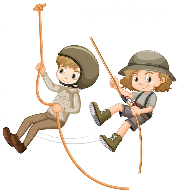 Boy and girl in scout uniform climbing rope Free Vector