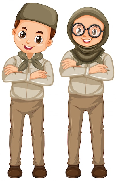 Boy and girl in scout uniform isolated Free Vector