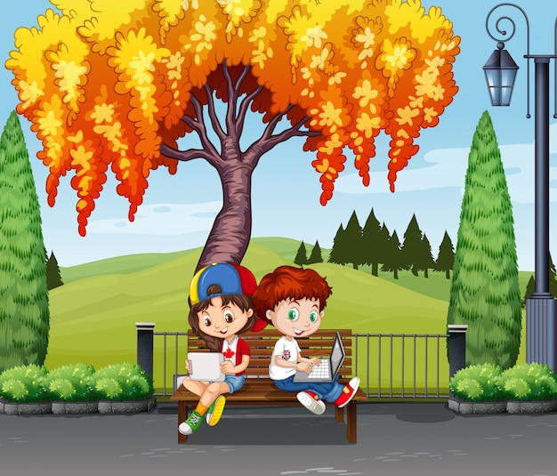 Boy and girl sitting under the tree Free Vector