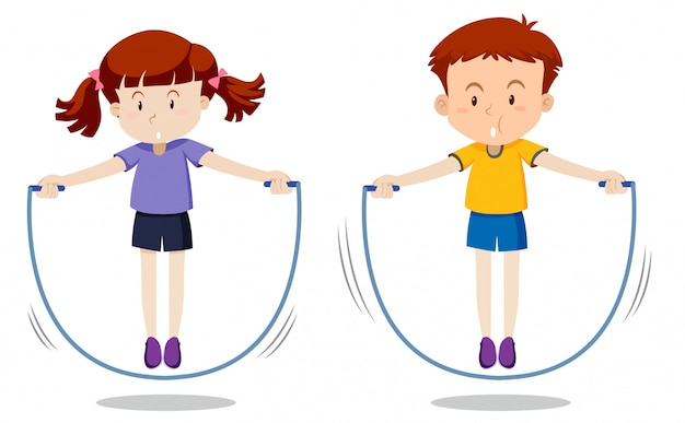 Boy and girl skipping Premium Vector