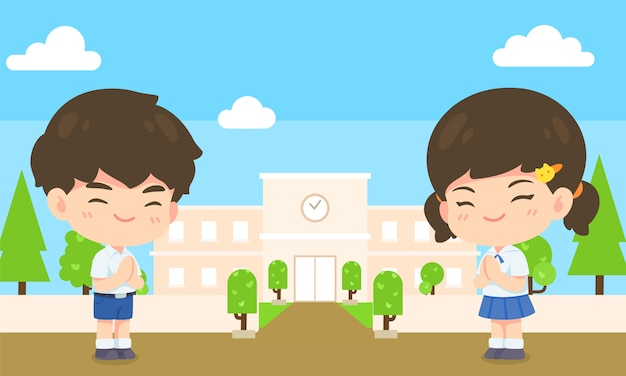 Boy and girl student in pay respect post Premium Vector