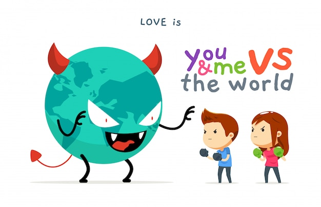 A boy and a girl versus the bad world Premium Vector