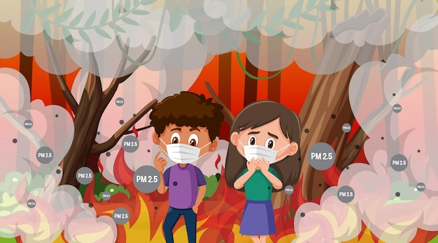 Boy and girl wearing mask in the wildfire with lots of smoke Premium Vector