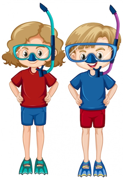 Boy and girl wearing snorkels and fins on white background Free Vector