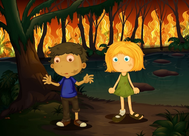 Boy and girl in wildfire forest Premium Vector