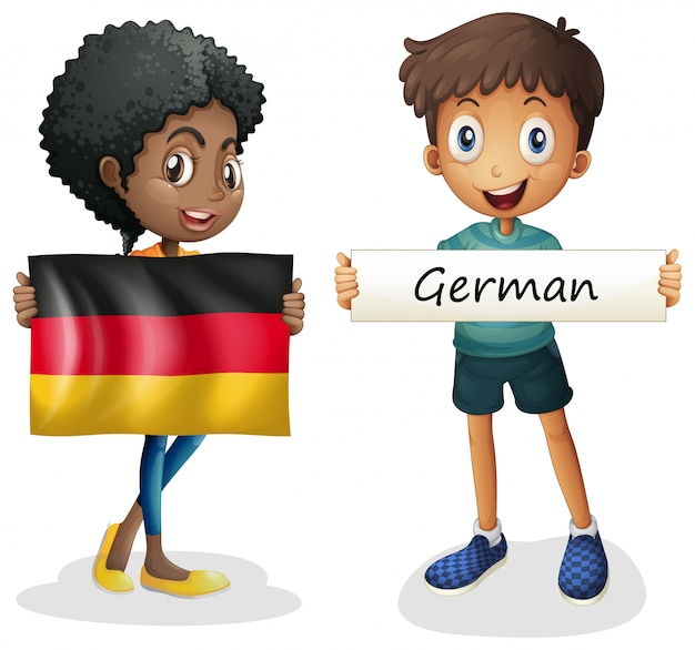 Boy and girl with flag of germany Free Vector