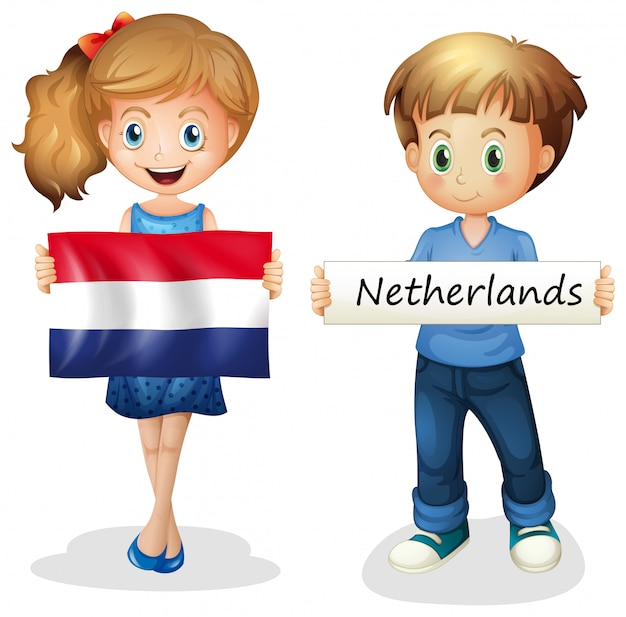 Boy and girl with flag of netherlands Premium Vector
