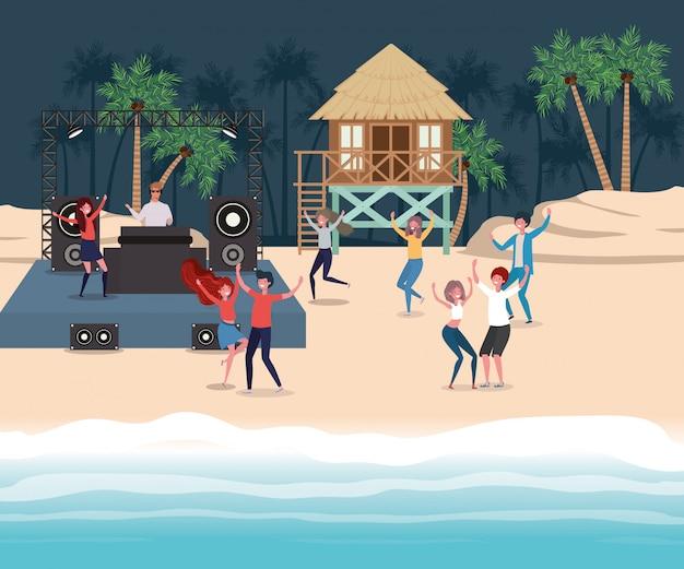 Boy and girl with swimwear dancing on the beach Premium Vector