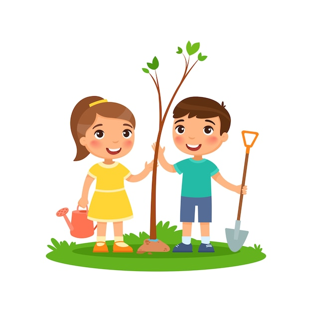Boy and girl with watering can Premium Vector